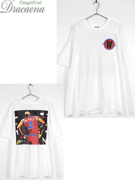 [1] 古着 Tシャツ 90s USA製 NIKE NBA Washington Bullets No 2 「Webber」 フォト Tシャツ XXL 古着