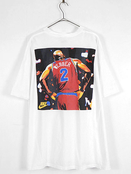 [4] 古着 Tシャツ 90s USA製 NIKE NBA Washington Bullets No 2 「Webber」 フォト Tシャツ XXL 古着