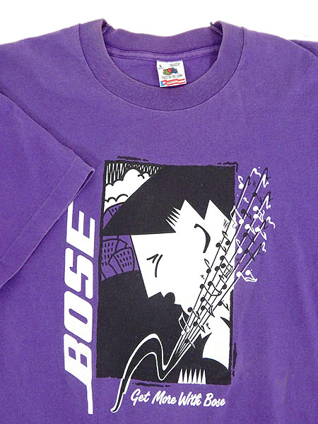 [3] 古着 Tシャツ 90s USA製 BOSE ボーズ 「Get More With Bose」 スピーカー 音響 ミュージック Tシャツ L 古着