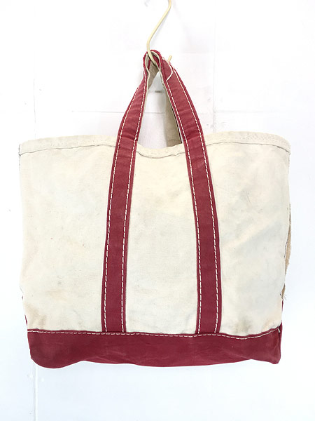 [1] 雑貨 古着 70s 筆記体 LL Bean ビーン 「Boat and Tote」 キャンバス トート バッグ 中型 古着