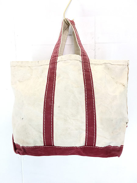 [2] 雑貨 古着 70s 筆記体 LL Bean ビーン 「Boat and Tote」 キャンバス トート バッグ 中型 古着