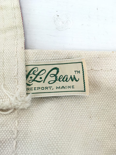 [9] 雑貨 古着 70s 筆記体 LL Bean ビーン 「Boat and Tote」 キャンバス トート バッグ 中型 古着