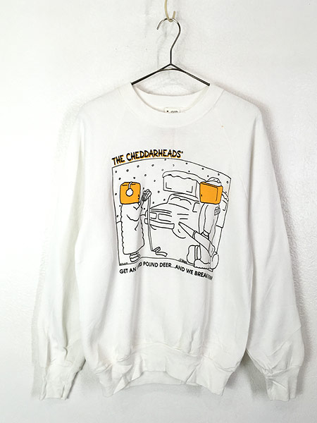 [1] 「Deadstock」 古着 80s USA製 「THE CHEDDARHEADS」 チーズ ポップ アート スウェット M 古着