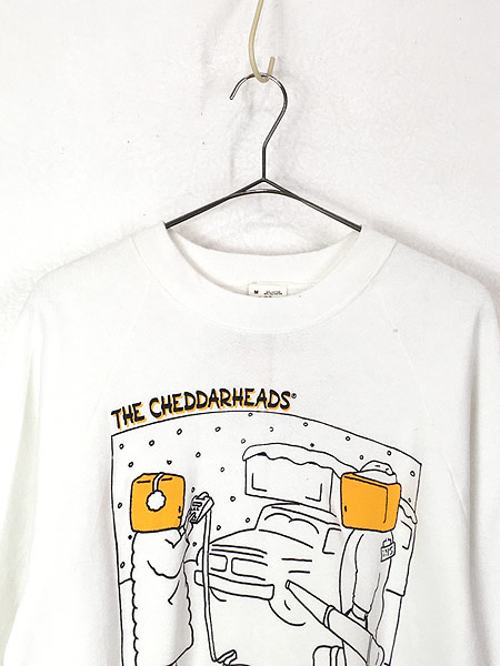 [2] 「Deadstock」 古着 80s USA製 「THE CHEDDARHEADS」 チーズ ポップ アート スウェット M 古着