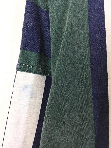 [5] 古着 80s Canada製 enuf 発泡ロゴ マルチ ストライプ ノーカラー ベースボール シャツ XL 古着