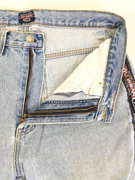 [8] 古着 90s WU WEAR ウータンクラン サイドテープ ヒップホップ デニム パンツ ジーンズ W32 L31 古着