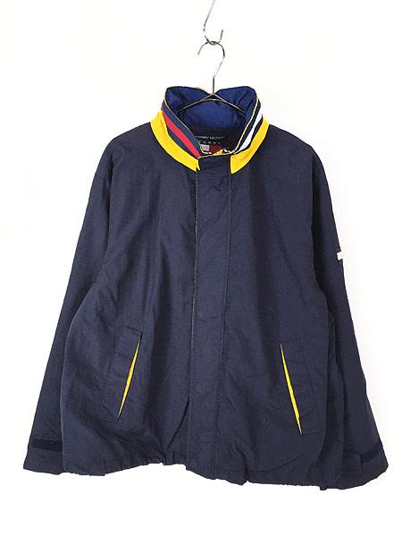 [1] 古着 90s TOMMY HILFIGER BIG ロゴ & パッチ 2way シェル ジャケット ブルゾン M 古着