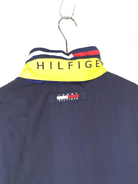 [4] 古着 90s TOMMY HILFIGER BIG ロゴ & パッチ 2way シェル ジャケット ブルゾン M 古着