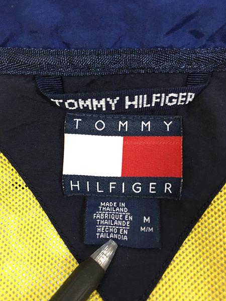 [8] 古着 90s TOMMY HILFIGER BIG ロゴ & パッチ 2way シェル ジャケット ブルゾン M 古着