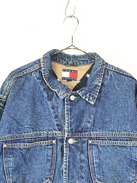 [2] 古着 90s TOMMY HILFIGER JEANS 星条旗 ライナー BIG パッチ デニム ジャケット Gジャン XL 古着