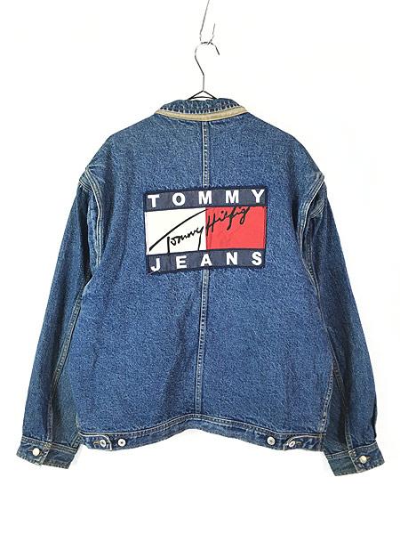 [3] 古着 90s TOMMY HILFIGER JEANS 星条旗 ライナー BIG パッチ デニム ジャケット Gジャン XL 古着
