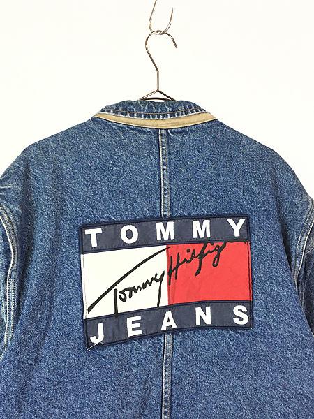 [4] 古着 90s TOMMY HILFIGER JEANS 星条旗 ライナー BIG パッチ デニム ジャケット Gジャン XL 古着