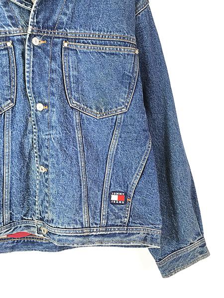 [7] 古着 90s TOMMY HILFIGER JEANS 星条旗 ライナー BIG パッチ デニム ジャケット Gジャン XL 古着