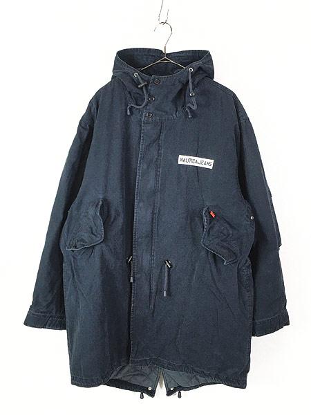 [1] 古着 Nautica Jeans 裏地キルティング フィッシュテール モッズ パーカー コート XL 古着