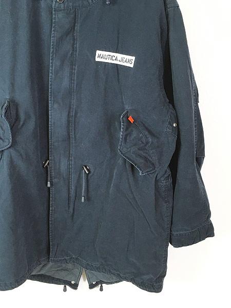 [3] 古着 Nautica Jeans 裏地キルティング フィッシュテール モッズ パーカー コート XL 古着
