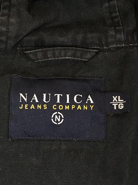 [7] 古着 Nautica Jeans 裏地キルティング フィッシュテール モッズ パーカー コート XL 古着