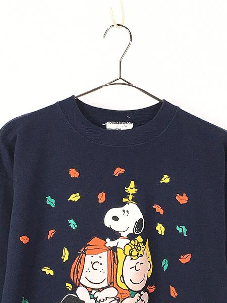 [2] 古着 90s USA製 Snoopy スヌーピー 組体操 キャラクター スウェット トレーナー L 古着