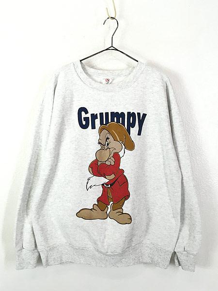 [1] 古着 90s USA製 Disney 白雪姫 「Grumpy」 7人の小人 キャラクター スウェット XL 古着
