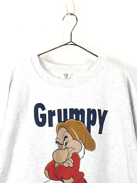[2] 古着 90s USA製 Disney 白雪姫 「Grumpy」 7人の小人 キャラクター スウェット XL 古着