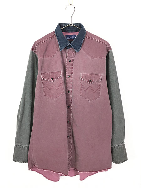 [1] 古着 90s USA製 Wrangler クレイジー パターン オールド ウエスタン シャツ 16 古着