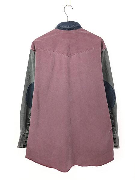 [3] 古着 90s USA製 Wrangler クレイジー パターン オールド ウエスタン シャツ 16 古着