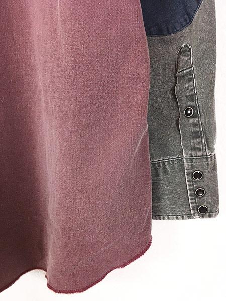 [5] 古着 90s USA製 Wrangler クレイジー パターン オールド ウエスタン シャツ 16 古着