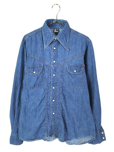[1] 古着 80s Sears ソリッド オールド デニム ウエスタン シャツ M 古着