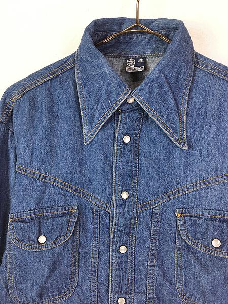 [2] 古着 80s Sears ソリッド オールド デニム ウエスタン シャツ M 古着