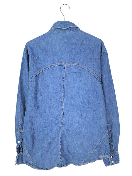 [3] 古着 80s Sears ソリッド オールド デニム ウエスタン シャツ M 古着