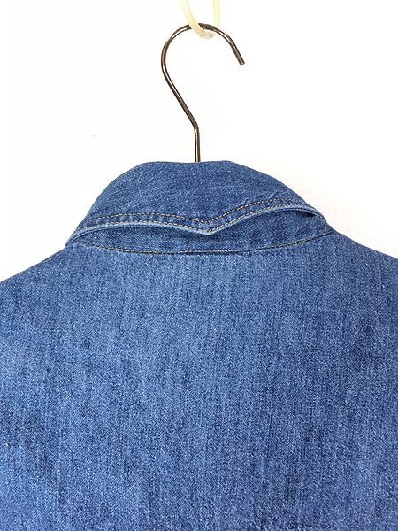 [5] 古着 80s Sears ソリッド オールド デニム ウエスタン シャツ M 古着