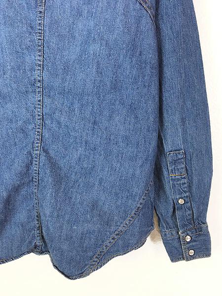 [6] 古着 80s Sears ソリッド オールド デニム ウエスタン シャツ M 古着