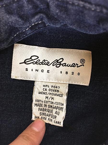 [6] 古着 90s Eddie Bauer 藍染 インディゴ デニム シャツ M 古着