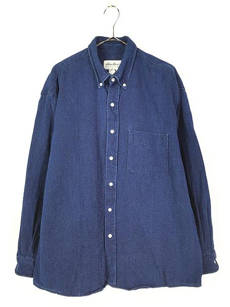 [1] 古着 90s Eddie Bauer 藍染 インディゴ コットンツイル シャツ L 古着