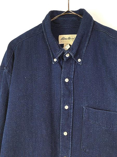 [2] 古着 90s Eddie Bauer 藍染 インディゴ コットンツイル シャツ L 古着