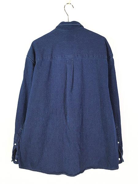[3] 古着 90s Eddie Bauer 藍染 インディゴ コットンツイル シャツ L 古着