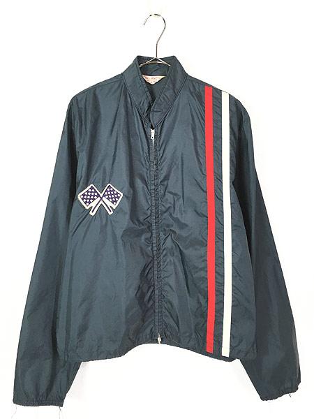 [1] 古着 60s USA製 チェッカー フラッグ サイド ライン オールド ナイロン レーシング ジャケット L 古着
