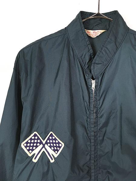 [2] 古着 60s USA製 チェッカー フラッグ サイド ライン オールド ナイロン レーシング ジャケット L 古着