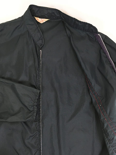 [5] 古着 60s USA製 チェッカー フラッグ サイド ライン オールド ナイロン レーシング ジャケット L 古着