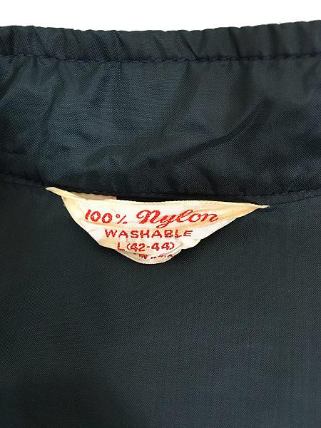 [6] 古着 60s USA製 チェッカー フラッグ サイド ライン オールド ナイロン レーシング ジャケット L 古着