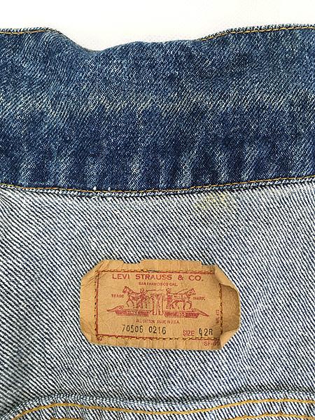[7] 古着 80s USA製 Levi's 70506 ハンド ポケット付 濃紺 デニム ジャケット Gジャン 42R 古着