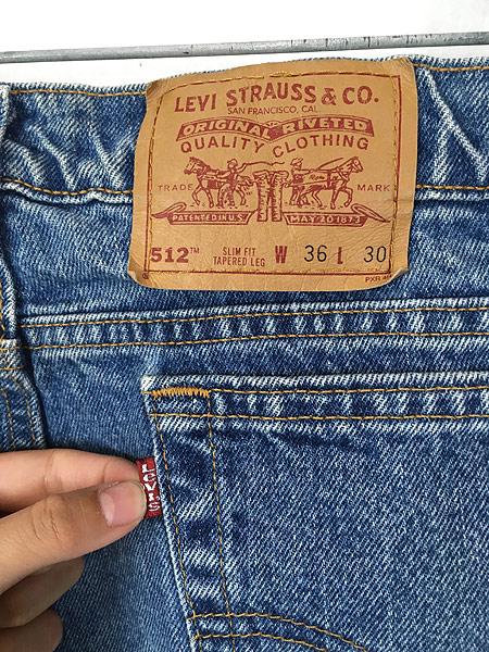 [4] 古着 90s USA製 Levi's 512 ブルー デニム パンツ ジーンズ テーパード W35 L30 古着