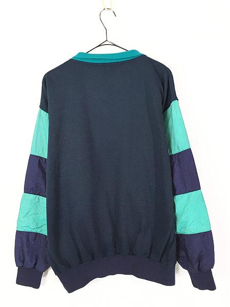 [4] 古着 80s Christian Dior MONSIEUR ナイロン 切替 襟付 プルオーバー スウェット L ブランド 古着