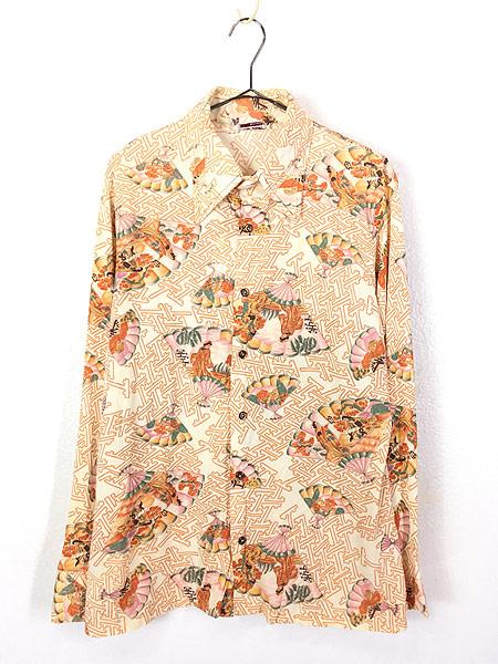 [1] 古着 70s 扇子 姫 梅 和柄 オールド ポリエステル シャツ 柄シャツ L位 古着