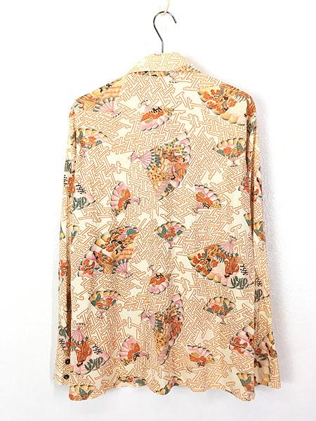[3] 古着 70s 扇子 姫 梅 和柄 オールド ポリエステル シャツ 柄シャツ L位 古着