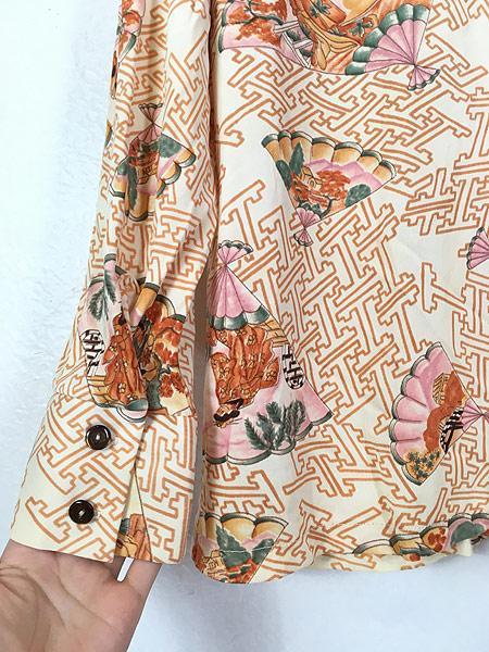 [5] 古着 70s 扇子 姫 梅 和柄 オールド ポリエステル シャツ 柄シャツ L位 古着