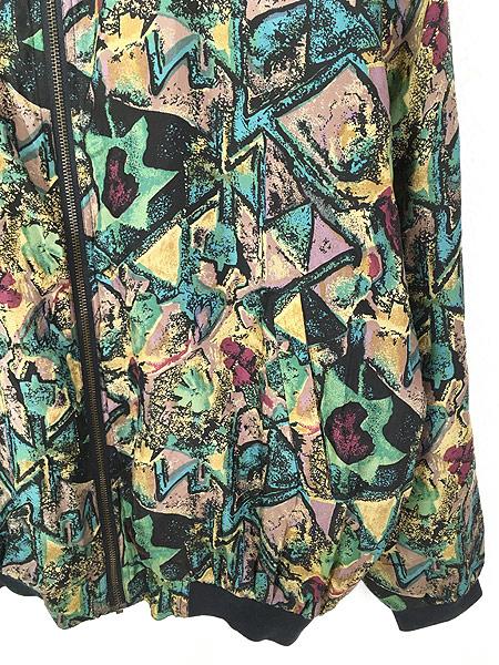 [3] 古着 90s ROBERT STOCK 幾何学 アート 100%シルク ジャケット ブルゾン L 古着