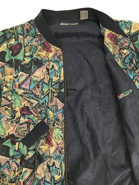 [5] 古着 90s ROBERT STOCK 幾何学 アート 100%シルク ジャケット ブルゾン L 古着