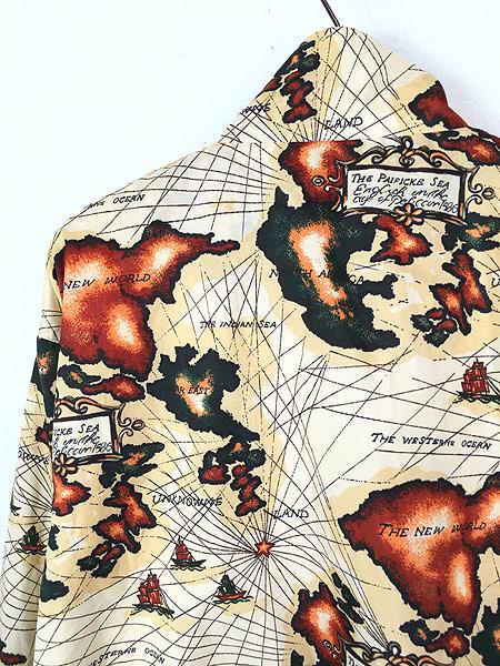[5] 古着 80s Pierre Cardin 地図 マップ 総柄 ナイロン ジャケット M 古着