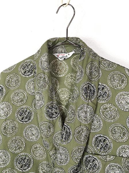 [2] 古着 60s Cranbrook 硬貨 メダル 総柄 ショール カラー ガウン コート 羽織 M 古着