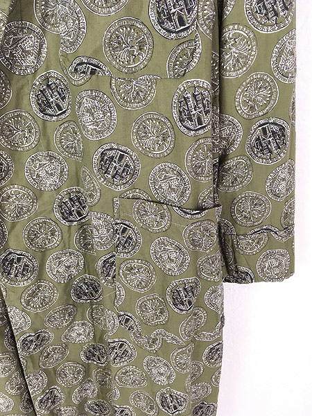[3] 古着 60s Cranbrook 硬貨 メダル 総柄 ショール カラー ガウン コート 羽織 M 古着